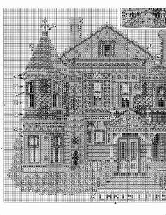 HALE HOUSE 03 Blackwork Cross Stitch, Cross Stitch Geometric, Cross Stitching, Cross Stitch Embroidery, Cross Stitch House, Cross Stitch Boards, Cross Stitch Designs, Cross Stitch Patterns, Hale House