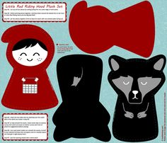 little red riding hood plush pattern set - click to see sewn fabric by bubbledog on Spoonflower - custom fabric