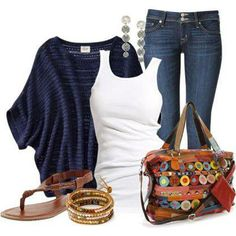Jeans, Classic white tee and light cardigan