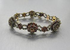 Bohemian Garnet Bracelet Victorian Garnet by TonettesTreasures