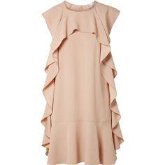 REDValentino Ruffled crepe mini dress ($595) via Polyvore featuring dresses, beige, short pink dress, pink crepe dress, crepe fabric dress, cut loose dress y loose fit dress