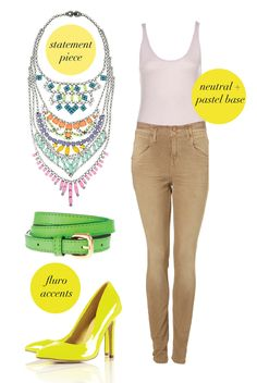 Statement necklace + Camel Bottoms + White Top