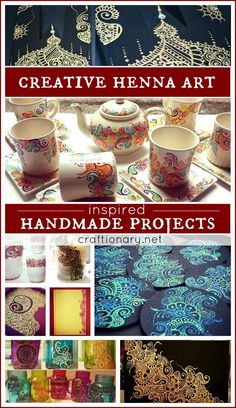 Creative henna art inspired handmade projects for the talented mehndi and tattoo artists. Make beautiful traditional and modern designs on craft projects. Fun Crafts, Diy And Crafts, Arts And Crafts, Paper Crafts, Henna Candles, Diy Gifts, Handmade Gifts, Mosaic Diy, Sharpies