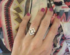 Three Diamond Ring Set Pear Diamond Engagement ring by capucinne