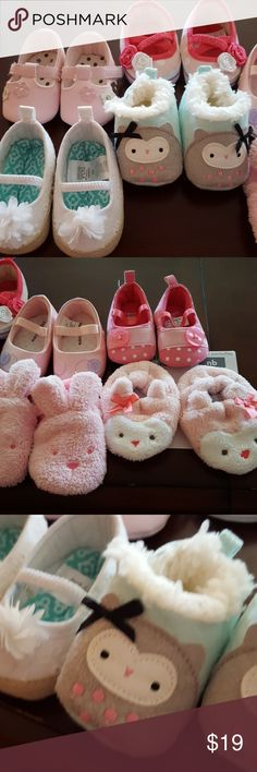 8 pairs nb infant baby shoes 6 pairs of shoes and 2 slippers for your precious newborn baby! Great for photos, special occasions, or just everyday wear! All pairs are new with no wear or blemishes. carters Shoes