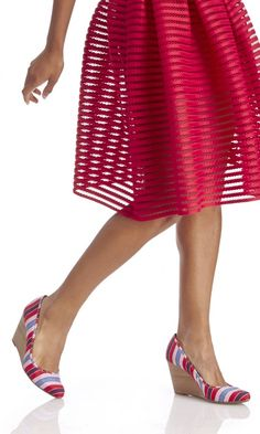 Red, blue & pink striped espadrille wedges