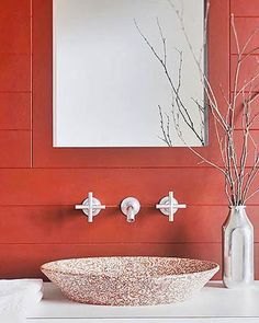 So warm. I bet it really flatters, too. Decor, Interior Design Projects, Orange Bathrooms, Red Interiors, Bathroom Red, Red Bathroom Decor, Red Bricks, Bathroom Decor, Red Rooms