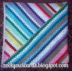 Rainbow Candy Diagonal Granny Stripe