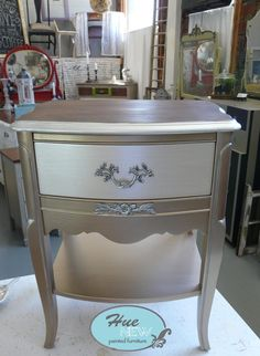 Vintage Nightstand by HueNew on Etsy French Provincial Furniture, French Furniture, Metal Furniture, Furniture Projects, Diy Furniture, Painted Bedroom Furniture, Refurbished Furniture, Repurposed Furniture, Furniture Makeover