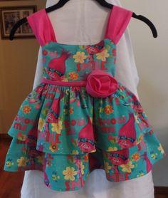 Girls Dress -  Toddlers Dress - Trolls Dress -  Girls Trolls Dress - Toddlers Trolls Dress - Girls Trolls Birthday Dress - Teal Smile by girldressesandthings on Etsy https://www.etsy.com/listing/512227553/girls-dress-toddlers-dress-trolls-dress