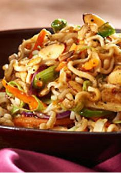 Crunchy Asian Salad -- This sweet and tangy Asian-style salad recipe gets its crunch from ramen noodles--ready for the dinner table in just 15 minutes!