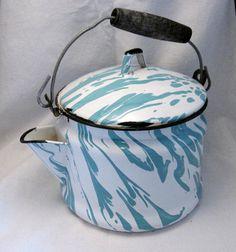 Turquoise teal swirl enamel tea kettle ❤ Please visit my Facebook page at: www.facebook.com/jolly.ollie.77