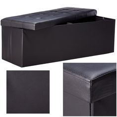 Button black memoryfoam ottoman faux leather bench chair stool storage furniture #PerfectAllinaceLad #Contemporary