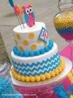 Mary Alexander Cakes in Dallas, Texas: Gallery of Cakes.  Chevron print birthday cake for 1st birthday party.  Owl on top made from fondant.