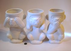 Three wise monkeys. Vases Three Wise Monkeys, Vases, Mystic, Animals, Animales, Animaux, Animal, Animais, Jars