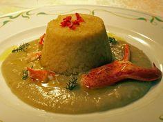Sformatino di riso con macco di fave e astice - ricetta inserita da Agostino Palmisano