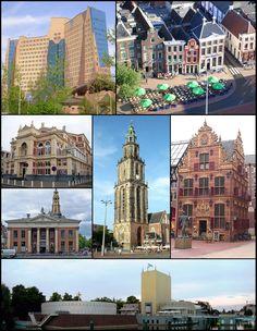 Martinitoren, Gasunie building, de Drie Gezusters, Stadsschouwburg, Goudkantoor, Korenbeurs & Groninger museum