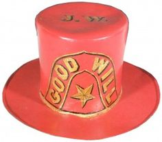 Good Will Early Firemen's Leather Parade Top Hat.