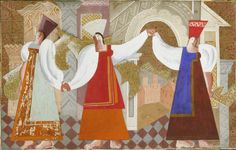Pavel Tchelitchew (Russian, 1898-1957) Stage design for The Wedding Feast of the Boyar gouache, newspaper and collage on card 28.5 x 45.5cm (11 1/4 x 17 15/16in). Sold for £46,850 (RUB 2,409,679)