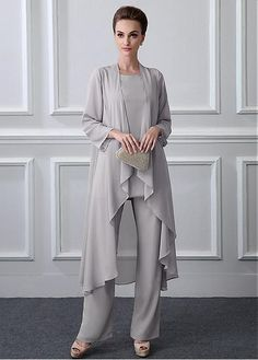 Magbridal Chic Pant Suits Chiffon Jewel Neckline Full-length Mother Of The Bride. hose, Magbridal Chic Pant Suits Chiffon Jewel Neckline Full-length Mother Of The Bride. Mother Of The Bride Trousers, Mother Of The Bride Dresses Long, Mother Of Bride Outfits, Mothers Dresses, Mother Bride, Country Wedding Guest Dress, Dress Plus Size, Mom Dress, Mode Hijab