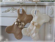 Gold Burlap Bone Dog Christmas Stocking  With by ngaslovelies