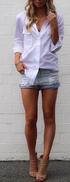 #summer #street #style | Classic shirts + Denim shorts Source