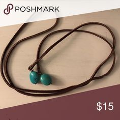 Tie Necklace Perfect leather and turquoise tie necklace Jewelry Necklaces