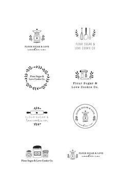 Kitchen Utensils Roller Pin Scales Whisk Machine Cookies Flour Sugar Logo Set Co. Baking Logo Design, Cake Logo Design, Food Logo Design, Dessert Logo, Cooking Icon, Cooking Tools, Kid Cooking, Cooking Hacks, Cooking School