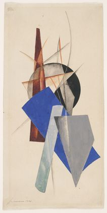A composition by Alexander Rodchenko 1918.  In this composition Rodchenko used Gouache and pencil on paper. He drew geometric shapes overlapping each other with some lines on the top of the composition. The composition is centered which gives more equal negative space in the background.