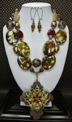 OLD GOLD FLORAL - COWGIRL WESTERN NECKLACE Set / Chunky Western Necklace / Statement / Cross Necklace / Brown Chunky Necklace / Boho Jewelry - See more at: http://www.buckaroobay.com/catalog.php?item=7890#sthash.771gzDCD.dpuf