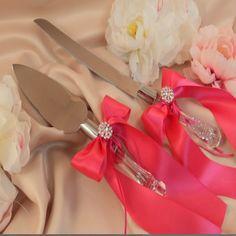 1 Unidades Elegante Decoración de La Boda de Acero Inoxidable Mango Wedding Cake Cuchillo y Servidor Set con Arco de La Cinta Decoración Del Partido