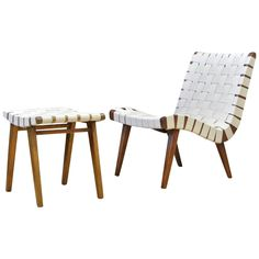 Early Jens Risom for Knoll 654W Lounge Chair and Footstool | From a unique collection of antique and modern lounge chairs at https://www.1stdibs.com/furniture/seating/lounge-chairs/
