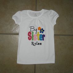 Embroidered  big sister shirt with by KimsKreativeBowtique on Etsy, $22.00