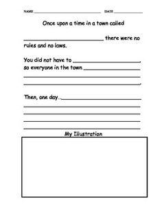 Worksheet where students can make laws and rules for a town they created and draw a picture describing what the town looks like now. Common Core Social Studies, 3rd Grade Social Studies, Social Studies Worksheets, Social Studies Activities, Teaching Social Studies, Writing Activities, Teaching Rules, Teaching Writing, Writing Prompts