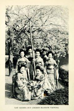 1932 Print Geisha Garden Cherry Blossom Fashion Traditional Botanical XGDD4