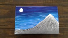 Snowy mountain by CreationsByLF on Etsy Snowy Mountains, Easy Paintings, New Zealand, Craft Supplies, Canvas, Handmade Gifts, Flowers, Blue, Color