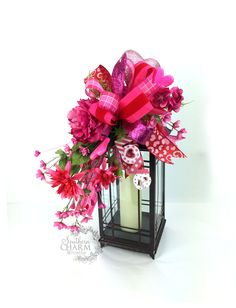 Handmade Valentine's Day Lantern Swag by www.southerncharmwreaths.com