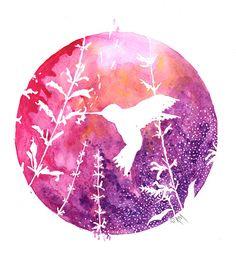 Hummingbird++Original+Gouache+Art+Print+by+RicardoMoody+on+Etsy,+$20.00