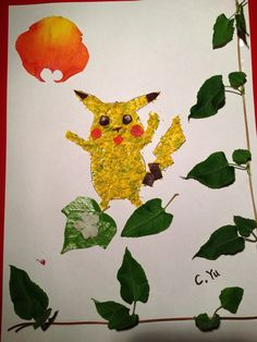 Pikachu by Yu Chen - made with roses, wild flowers and leaves ~<3
