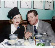 Carole Lombard and Clark Gable at 'Sardi's' restaurant in Hollywood - circa late 1930s.