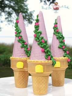 Rapunzel Tower Cupcakes: These beautiful cupcakes are perfect for a Tangled/Princess birthday party.  Use ice cream cones and candy melts to make them.  See Tutorial for pictures, recipe and directions on how to make these fun treats.  Or wrap them in clear cellophane, tie with pretty ribbon and give them out as party favors.