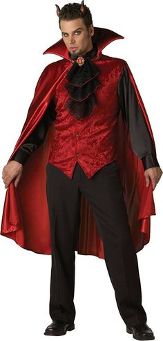 Deluxe Men's Devil Costume Satin CapeVest w/attached Shirt Sleeves and Lace JabotMedallionVinyl HornsYou will be far from drab in this refined fashion for Ha