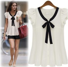 Cheap shirt and tie set, Buy Quality shirt cartoon directly from China shirt parts Suppliers: Blusas Summer New Womens Casual Tops Loose Chiffon Shirt Women Ruffle Sleeve Solid Bow Ladies Shirt Plus Size XXXL New Fashion Shirts, Fashion Outfits, Fashion Women, Fashion 2014, Chiffon Shirt, Chiffon Tops, Bow Shorts, Batik, Short Sleeve Cardigan