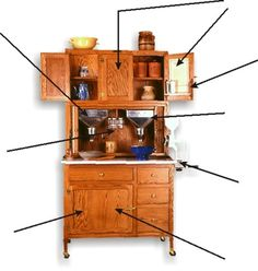 Antique Hoosier Cupboards | Hoosier Cabinet Optional Features Available on Hoosier Cabinets ...