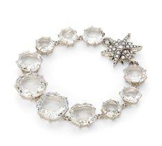 Pulseira de ouro nobre 18K com cristais de rocha e diamantes cognac - Coleção Moonlight - Modelo: P1Q174627