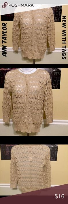 Gold sparkle sweater women's XS new with tags Loft This beautiful sparkle Ann Taylor is brand new with tags.  Comes from a smoke free home.  Buy with confidence I am a top rated seller, mentor and fast shipper.  Remember to bundle and save.  Thank you. Ann Taylor Sweaters Cardigans