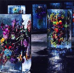 I just love the rich dark hues for the food styling/images #flowers #color #icesculpture #tablescape #centerpieces