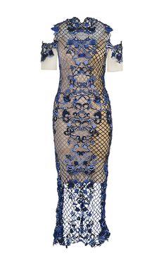 Blue Open Shoulder Dress by Thurley
