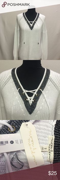 Moon& Meadow BNWT Sweater Beautiful over sized 100% cotton lace up white with black trim sweater Moon & Meadow Sweaters V-Necks