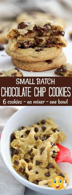 A quick and easy Small Batch Chocolate Chip Cookie recipe. Six cookies made in one bowl without a mixer no chill time.Perfect for those times that a cookie craving hits! #chocolatechipcookies #cookies #chocolate #smallbatch ...sugar sweetened ones low carb cause you to feel good on the inside because it releases endorphins into the body to give you a sense of comfort and rel...nkle tops with sugar to prevent a skin from forming Cover and chill for 4 hours or until set Unmold and decorate… Quick Easy Desserts, Small Desserts, Easy Cookie Recipes, Sweets Recipes, Baking Recipes, Yummy Recipes, Cookie Recipes From Scratch, Quick Dessert, Healthy Recipes